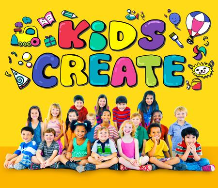 other keywords: Kids Create Cretivity Design Ideas Colorful Concept Stock Photo