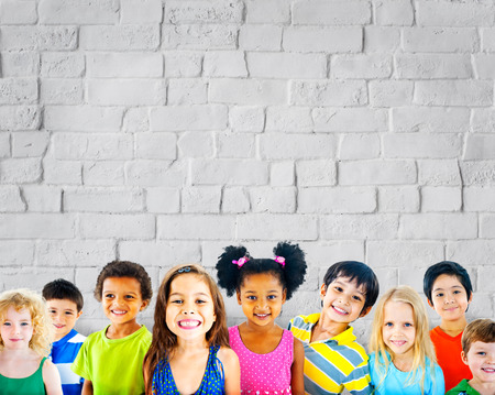innocence: Diversity Children Friendship Innocence Smiling Concept Stock Photo