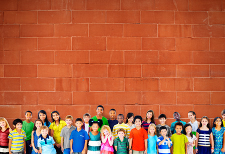 kids studying: Children Kids Childhood Friendship Happiness Diversity Concept Stock Photo