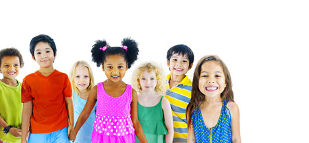 multi age: Children Kids Happiness Multiethnic Group Cheerful Concept Stock Photo