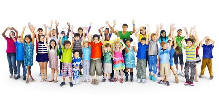 인종 다양성 Gorup 아이의 친구 명랑 개념 스톡 콘텐츠