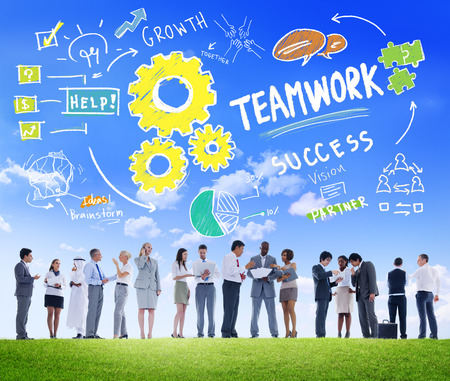 work together: Teamwork Team Together Collaboration Business People Communication Concept Stock Photo