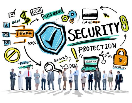 security protection: Diversity Business People Security Protection Concept