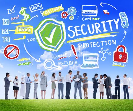security protection: Ethnicity Business People Discussion Digital Security Protection Concept