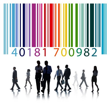 personas caminando: Concepto de negocio con c�digo de barras
