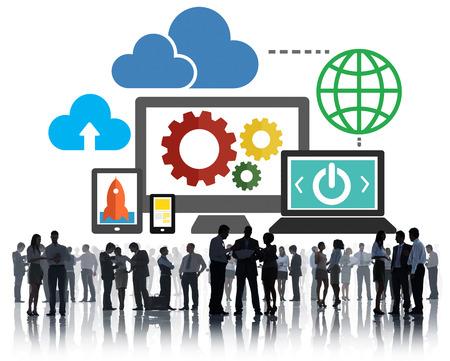 tecnología informatica: Base de datos de almacenamiento de datos en línea de la nube Concepto de la tecnología