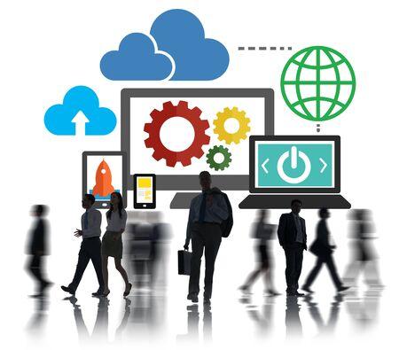 white collar worker: Cloud Data Storage Database Online Technology Concept