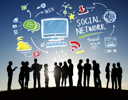 Social Network Social Media Business People Outdoors Concept Stockfoto