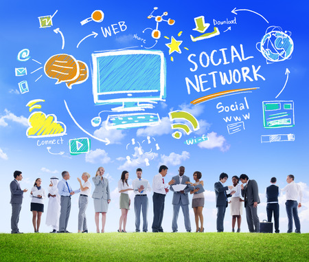 multi media: Social Network Social Media Business People Communication Concept