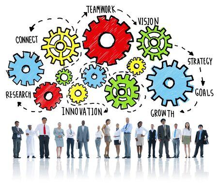 group goals: Team Teamwork Goals Strategy Vision Business Support Concept
