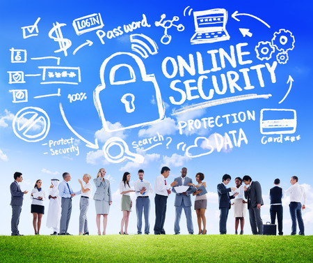 online security: Online Security Protection Internet Safety Business Communication Concept
