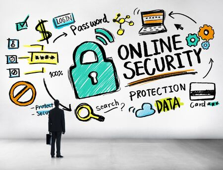 online security: Online Security Protection Internet Safety Businessman Standing Concept Stock Photo