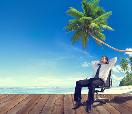 away from it all: Businessman Beach Relaxation Getting Away From It All Concept