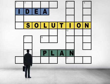 Solution Ideas Plan Solving Result Crossword Concept photo