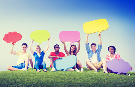 blank expression: Group Friends Outdoors Speech Bubbles Expression Concept