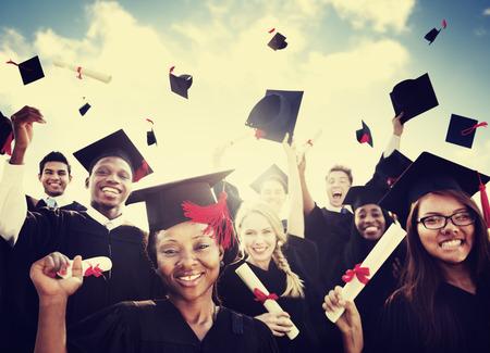 学生卒業成功達成のお祝い幸福概念 写真素材