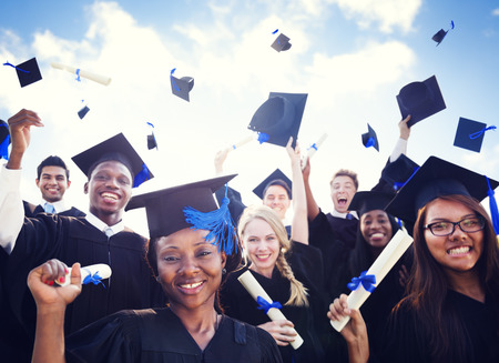 祝賀会: 概念の学習の祭典教育卒業学生の成功 写真素材