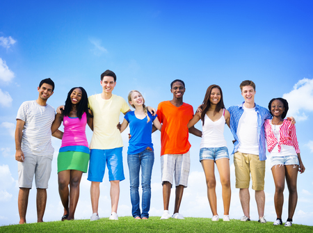 support group: Group Friends Outdoors Diversed Cheerful Fun Concept Stock Photo