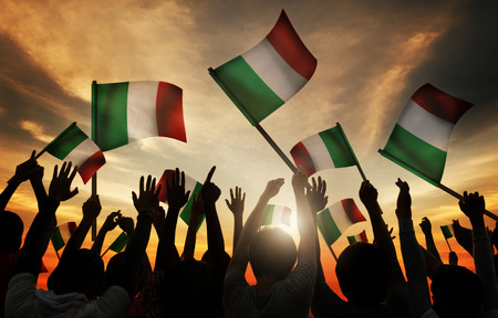 italian ethnicity: Silhouettes of People Holding Flag of Italy