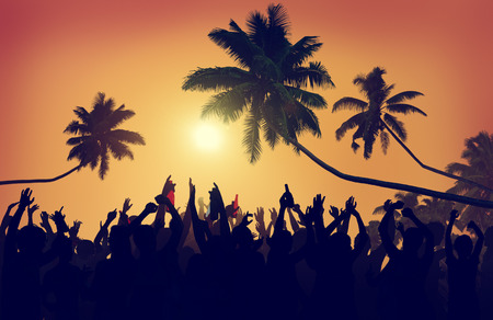 party silhouettes: Adolescence Summer Beach Party Outdoors Community Estatic Concept Stock Photo