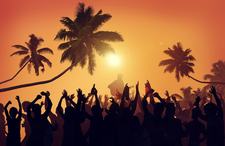 guy on beach: Summer Music Festival Beach Party Performer Excitement Concept