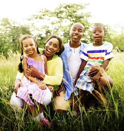 of african descent: African Family Happiness Holiday Vacation Activity Concept
