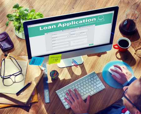 ローン アプリケーションの銀行金融お金実業家コンセプト 写真素材