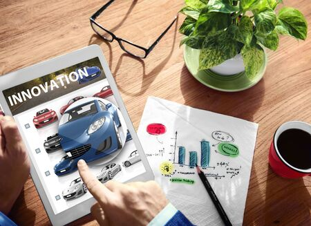 place of research: Innovation Hybrid Car Future Digital Tablet Concept