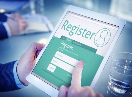 Registrarse Registro Solicitud de Afiliación Únete Oficina navegación Concepto Foto de archivo