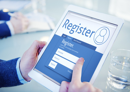 online form: Register Membership Application Registration Join Office Browsing Concept