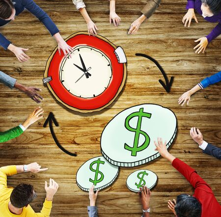 money making: Aerial View People Time Management Money Making Concepts