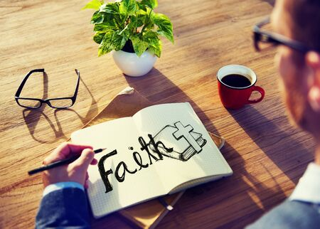 religion: Businessman Faith Prayer Religion Office Analying Concept