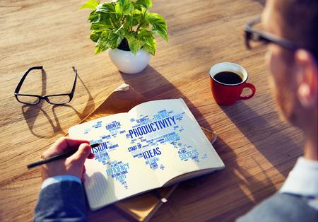 productividad: Misi�n Estrategia Productividad Empresarial Mundial Vision Concept