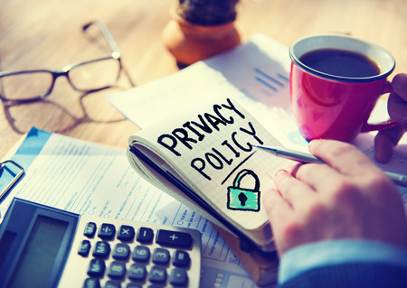 Businessman Notepad Privacy Policy Concept Stock fotó