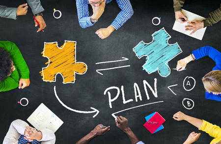 Plan Planning Connection Discussie Jigsaw Team Teamwork Concept Stockfoto - 39196559