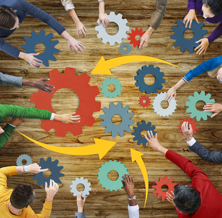 diverse business team: Aerial View People Gear Cog Connection Working Concepts Stock Photo