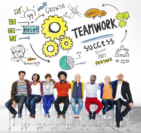 diversidad: Teamwork Colaboraci�n Diversidad Amigos Concept