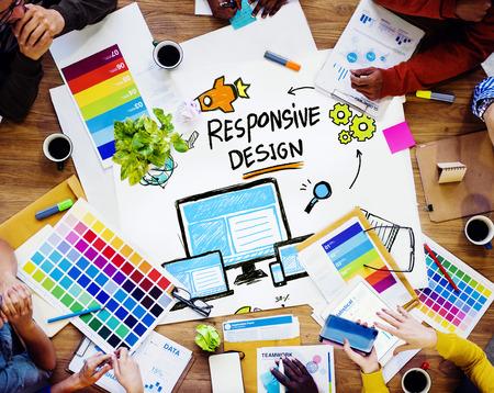 반응 형 디자인 인터넷 웹 그래픽 디자인 팀 개념