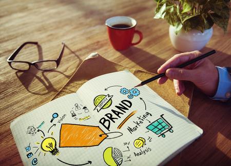 the value: El hombre de negocios Escritura Planificación de Marketing Concept Marca