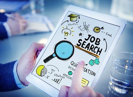 Businessman Digital Devices Job Search Online Concept photo