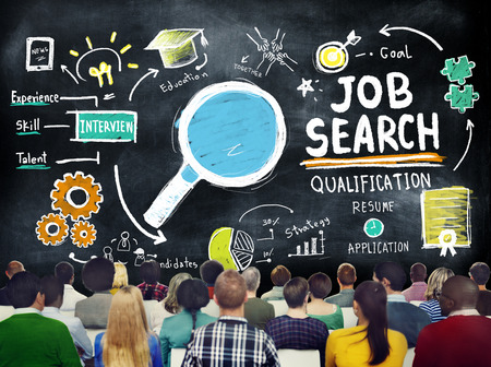 job application: Ethnicity Business Peolple Seminar Job Search Strategy Concept Stock Photo