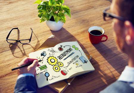 qualification: Businessman Planning Recruitment Qualification Working Concept