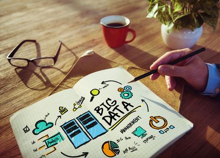 ビジネスマンの大きなデータ設計計画情報