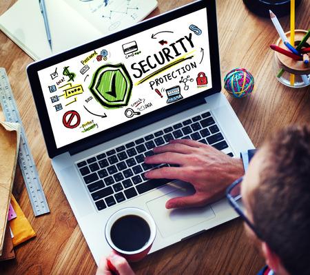 実業家オンライン インター ネット セキュリティ保護ファイアウォールの概念