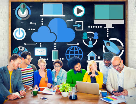 Brainstorming Sharing Online Global Communication Cloud Concept photo