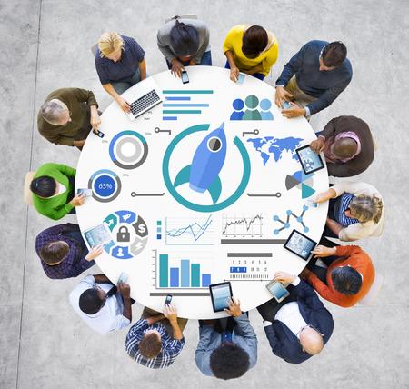 New Business Chart Innovation Teamwork Global Business Concept photo