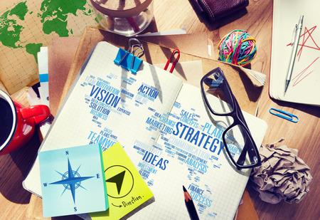 planen: Strategie-Analyse World Vision Mission Planning Konzept