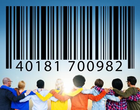 ordinal: casual multi-ethnic group looking at bar code