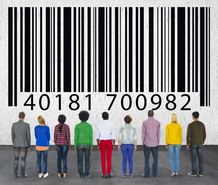 Ordinal: casual multi-ethnic group looking at bar code