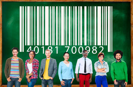 Ordinal: casual multi-ethnic group with bar code in background